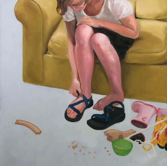 Amanda, Toys and Shoes (Afraid to Look), 3' x 3', oil on canvas, 2010