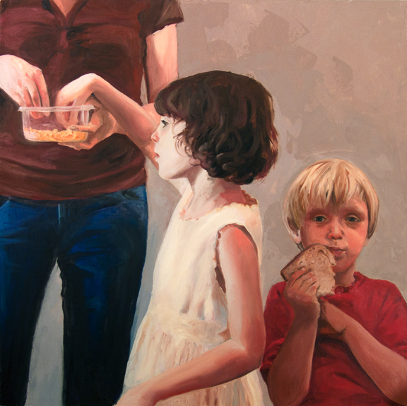 Amanda, Zoe and Raphael with Goldfish (They Did All Eat), 3' x 3', oil on canvas, 2010