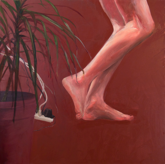 John with Palm (Fled), 3' x 3', oil on canvas, 2010