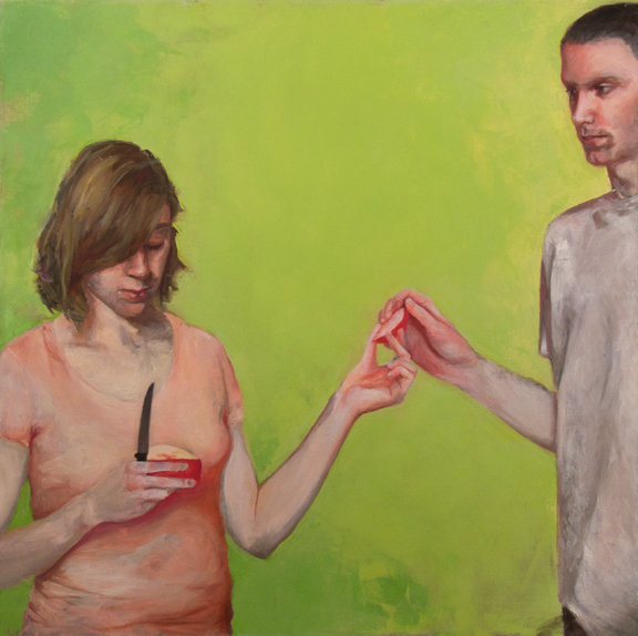 John, Amanda and Apple (He Did Eat), 3' x 3', oil on canvas, 2010