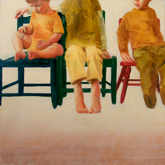 Zoe and Raphael with Cousin Johnny (Rest Yourselves), 3' x 3', oil on canvas, 2010